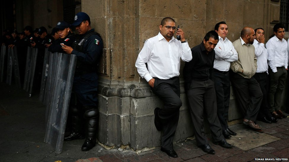 Security personnel in Mexico City