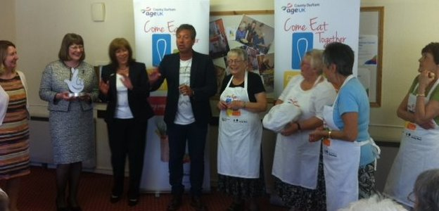John Torode revisits Age UK's Come Eat Together project in Stanley