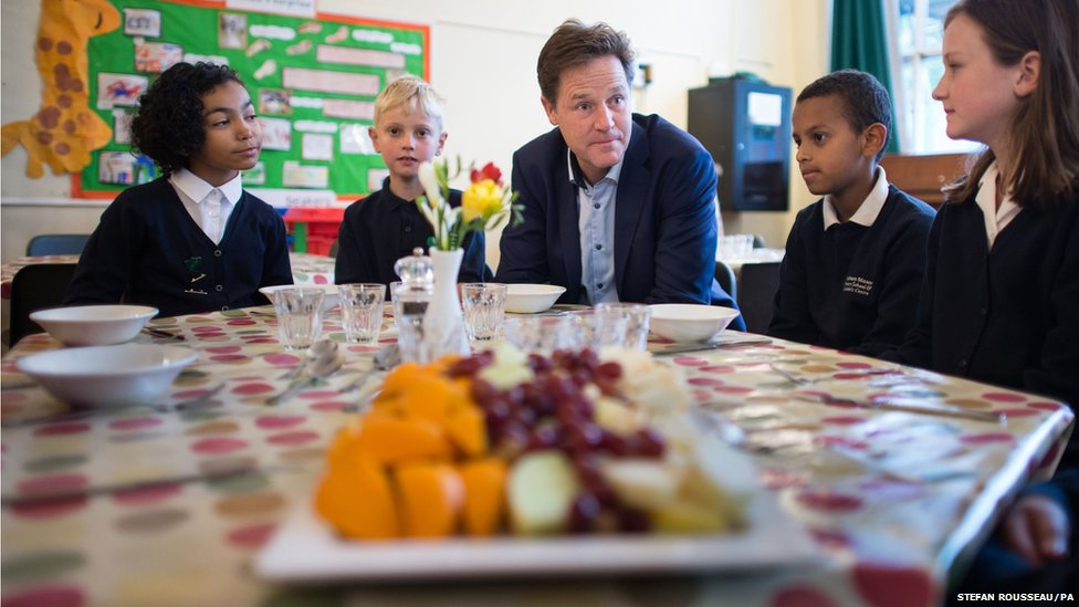Deputy Prime Minister Nick Clegg meets pupils at Clapham Manor Primary School
