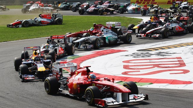 Fernando Alonso leads the Italian Grand Prix