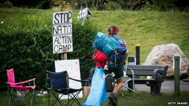 Protesters continue to arrive at a peace camp in Newport's Tredegar park