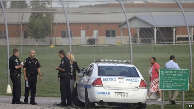 Police work in front of the Woodland Hills Youth Development Center  Nashville, Tennessee 2 September 2014