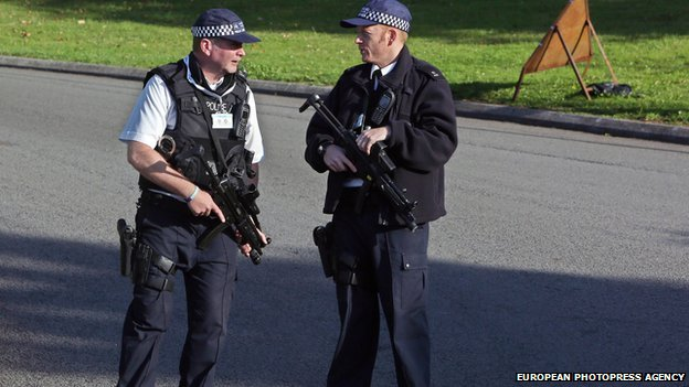 Armed police at Celtic Manor