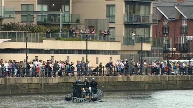 Crowds at Cardiff Docks