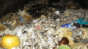 A mountain of congealed fat, wet wipes, food and rubbish blocking a Thames Water pipe  in West London