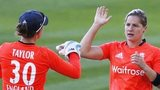 England's Katherine Brunt (right) celebrates the wicket of South Africa's Tricia Chetty