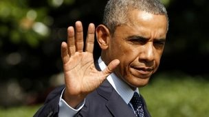 President Obama waves as he departs the White House in Washington to travel to Estonia - 2 September 2014