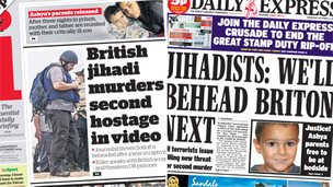 Composite image of i and Express front page