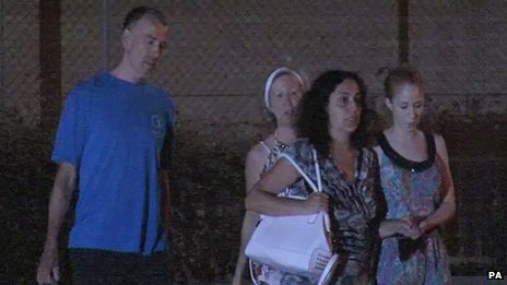 Brett and Naghmeh King leaving Soto del Real prison near Madrid, with friends.