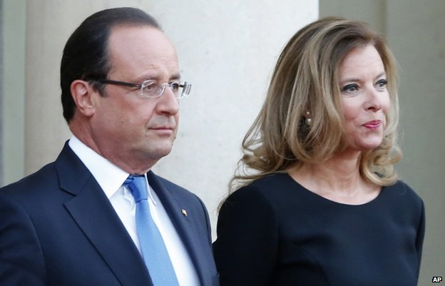 President Hollande and Valerie Trierweiler (file pic Sept 2013)