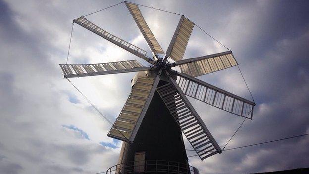 Heckington Windmill's eight sails