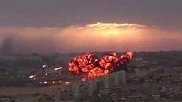 Inferno after jet crashes in  Tobruk, Libya, on 2 September 2014