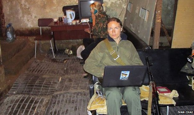Margarita Zeidler in Sloviansk when it was under rebel control.  Image: Ivan Chai news agency