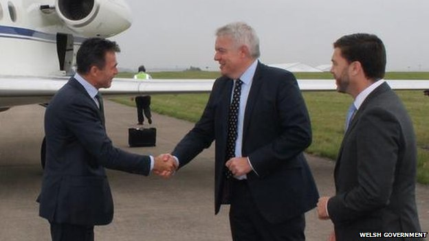 First Minister Carwyn Jones and Welsh Secretary Stephen Crabb welcome Nato Secretary General Anders Fogh Rasmussen