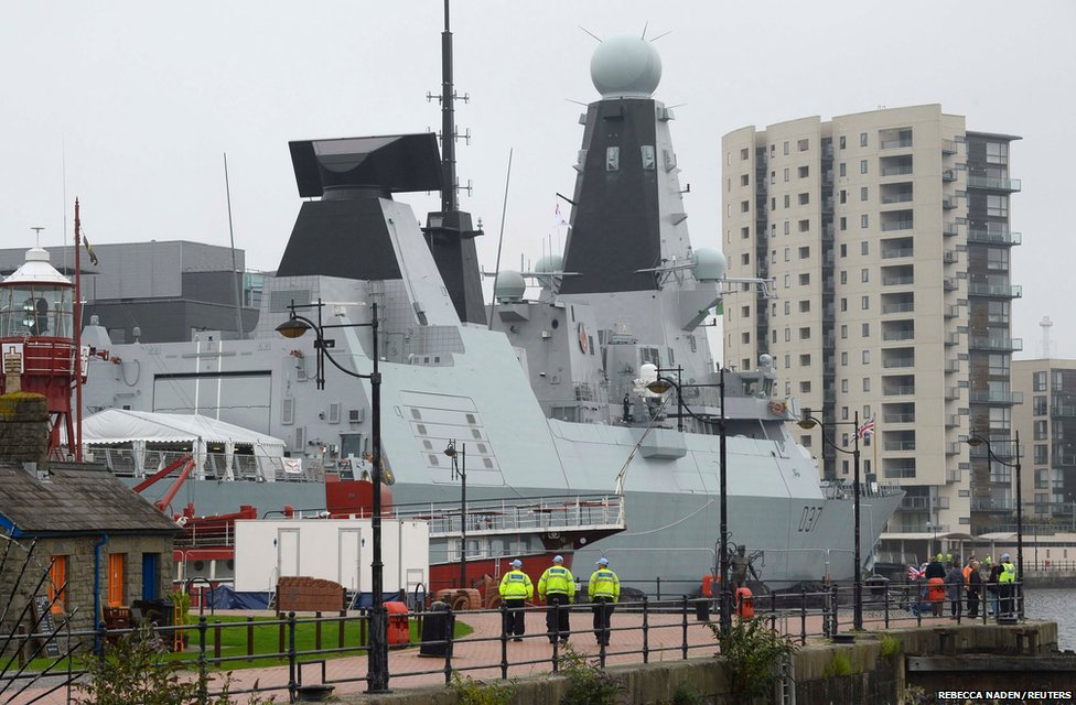 A Royal Navy Type 45 destroyer, HMS Duncan, is berthed in Cardiff Bay