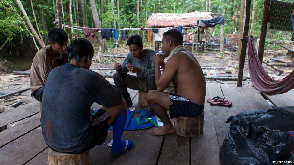 Loggers play cards at a camp built by in the Peruvian jungle, on the shores of the of the Esperanza river on 3 April 2013.