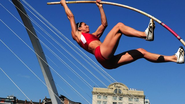Women's Pole Vault event with the Millennium Bridge in the background