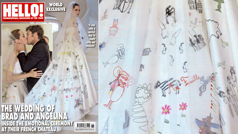 angelina jolie brad pitts wedding photos dress