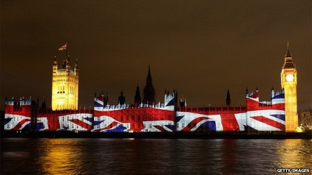 Union Jack projected onto Houses of Parliament ahead of 2012 Olympic Games