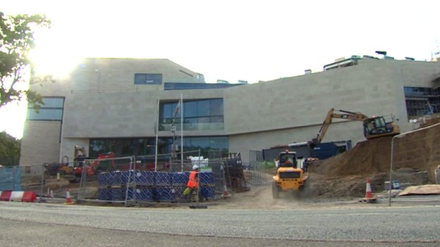 Pontio buildings under construction in September 2014, Bangor