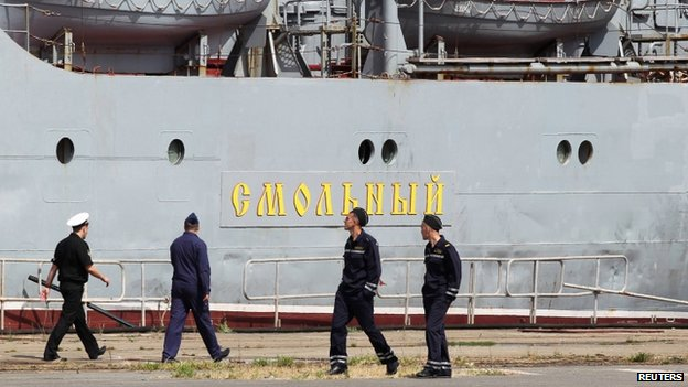 Russian sailors by the Smolny frigate in St Nazaire - 30 June