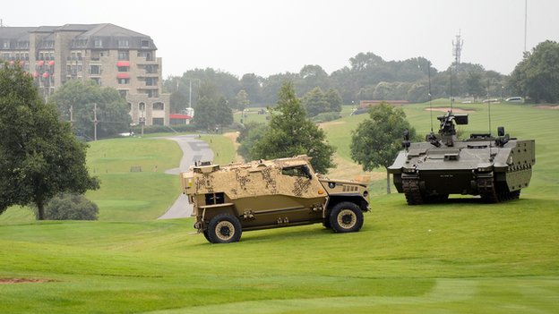 Military vehicles at the Celtic Manor Resort