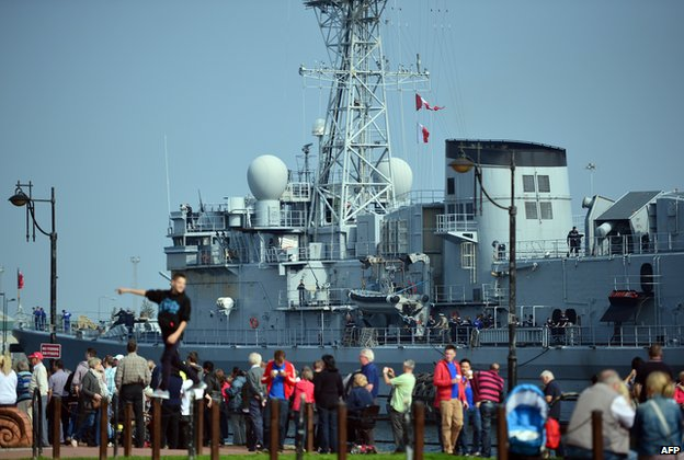 The French naval vessel La Motte-Picquet docks in Cardiff