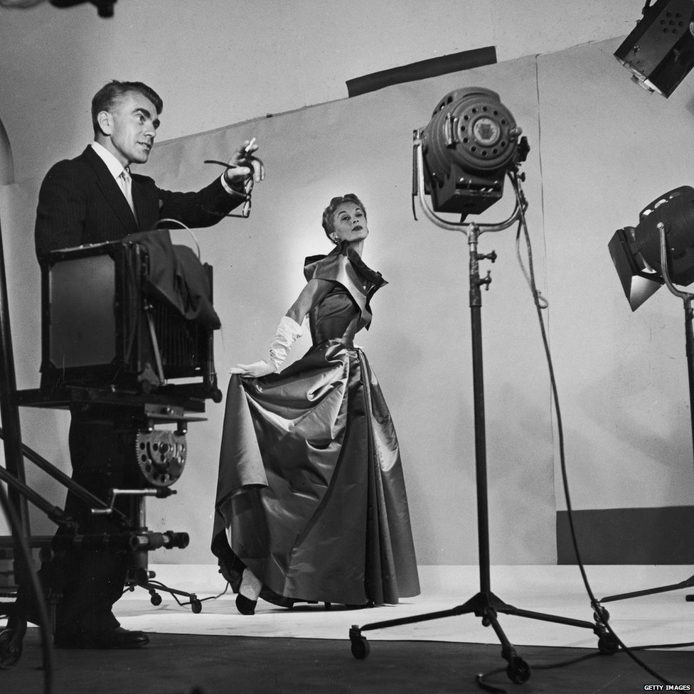 Horst directing fashion shoot with Lisa Fonssagrives, 1949