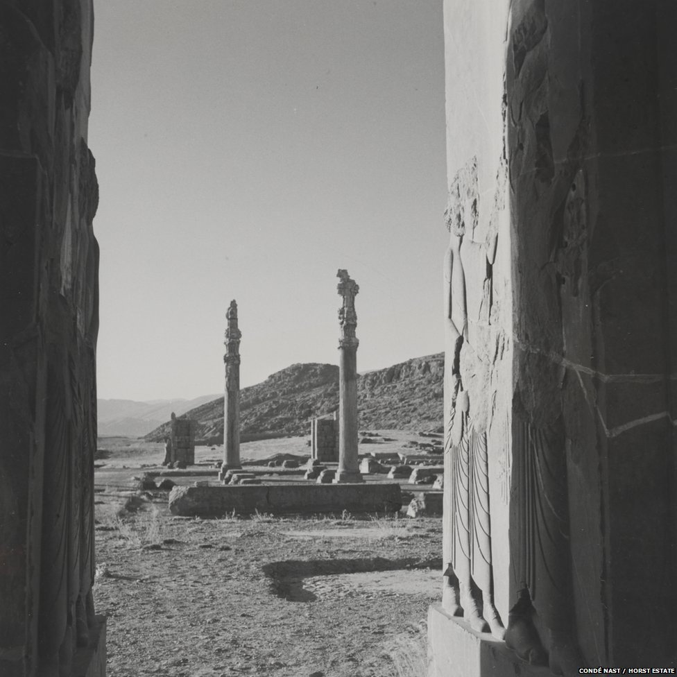 View of ruins at the palace of Persepolis, 1949