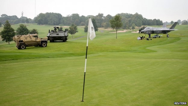 Military vehicles on the golf course of the Celtic Manor Hotel (3 September 2014)