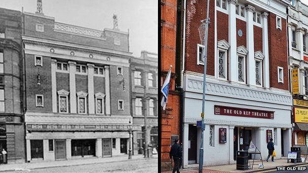 The Old Rep in 1918 and present day