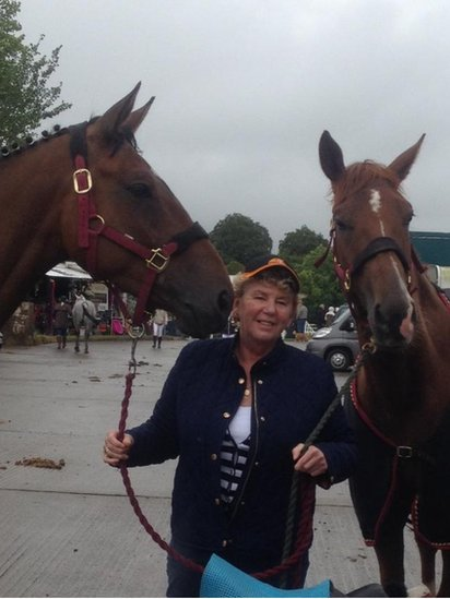 Geraldine Graham with two young horses