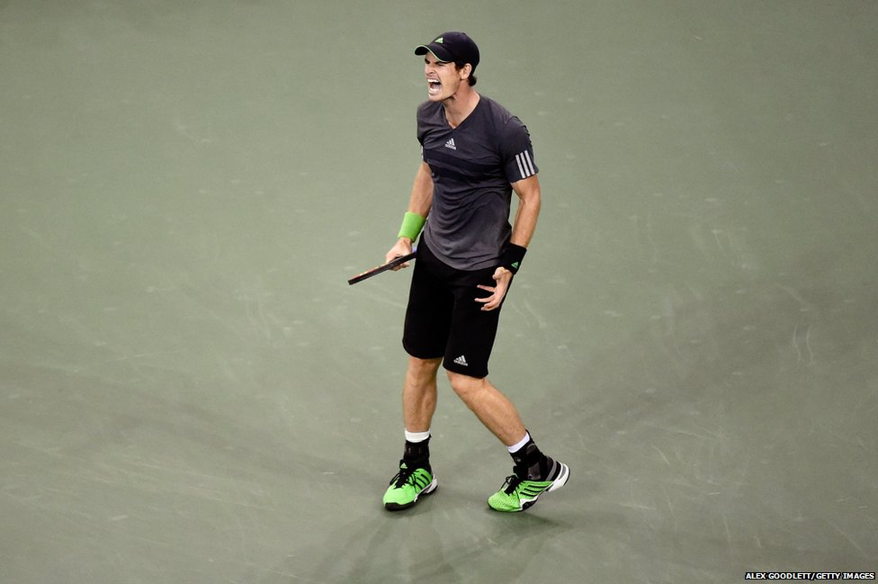 Andy Murray reacts during his tennis match against Novak Djokovic