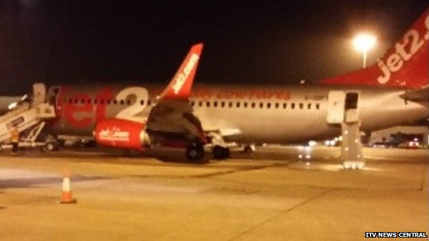 The Jet2 plane at East Midlands Airport