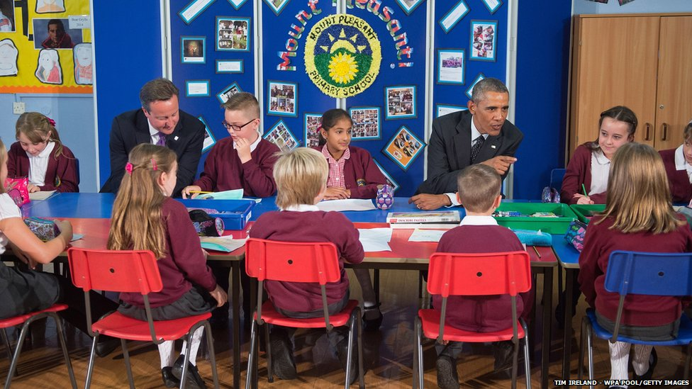 British Prime Minister David Cameron and US President Barack Obama meet school children at Mount Pleasant Primary School