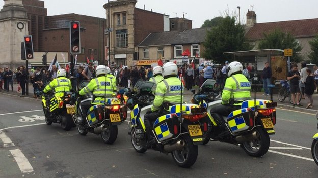 Police outriders arrive in Newport ahead of planned protest