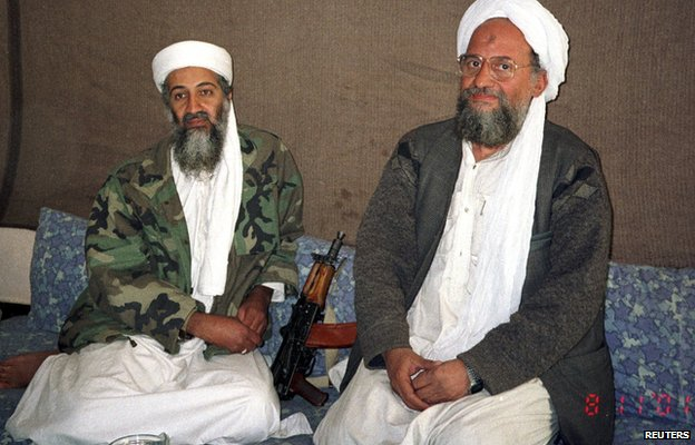 Osama Bin Laden and Aymen al-Zawahiri during an interview in Afghanistan 8 November 2001
