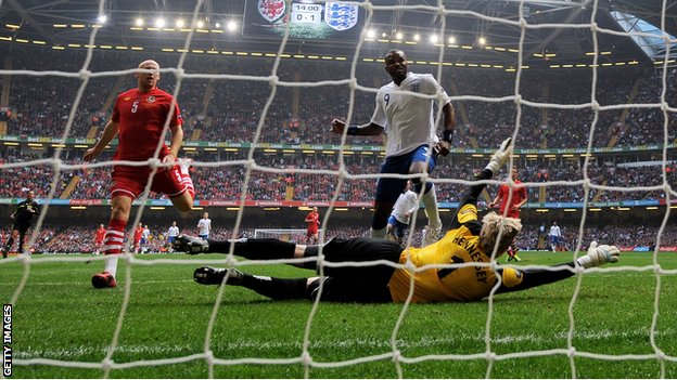 Darren Bent scores for England against Wales at the Millennium Stadium