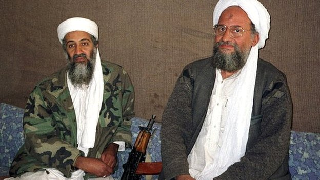 Osama bin Laden and Aymen al Zawahiri during an interview in Afghanistan 8 November 2001
