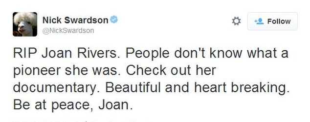 "A fan of Joan Rivers posted on Twitter on 4 September, calling her a ""pioneer"" and asking that people watch her documentary"