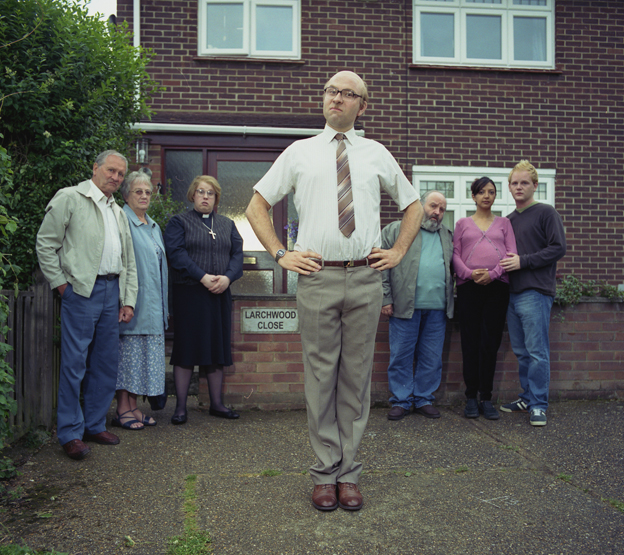 David Walliams as Sid Pegg with the neighbourhood watch group.