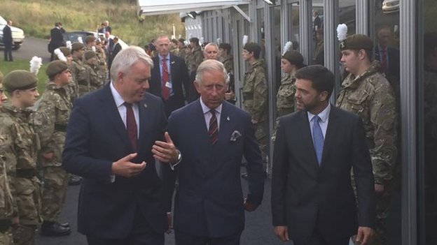 Prince Charles arrives to host a reception at the Celtic Manor Resort