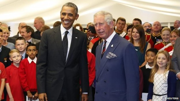 President Obama meets Prince of Wales at the reception in Newport