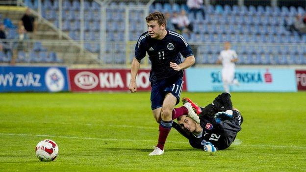 Ryan Fraser scores for Scotland Under-21s against Slovakia Under-21s