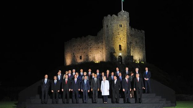 The world leaders posed for a photograph at the castle