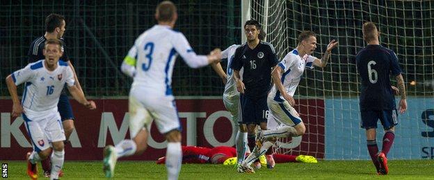 Ondrej Duda celebrates after scoring for Slovakia Under-21s against Scotland Under-21s