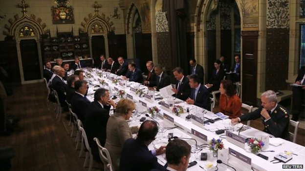 Summit talks continued into the night at the working dinner at Cardiff Castle
