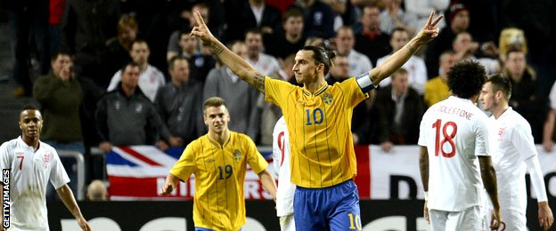 Zlatan Ibrahimovic celebrates scoring against England in November 2012