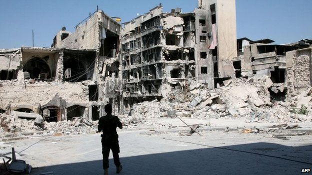 A soldier from the Syrian government forces looks at severely damaged buildings in the northern Syrian city of Aleppo, 3 September 2014