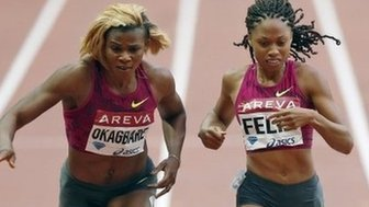 Blessing Okagbare and Allyson Felix